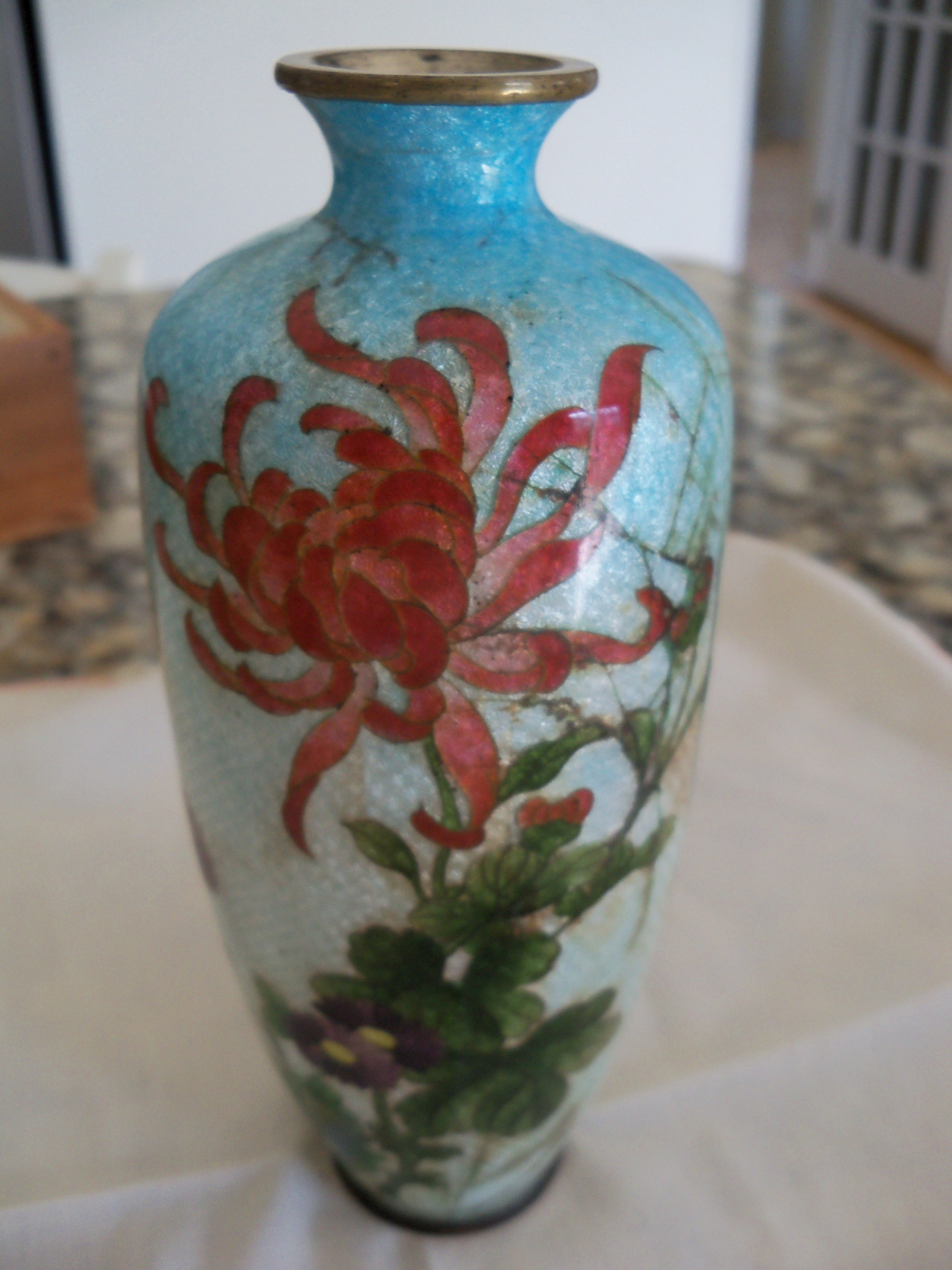 Antique Asian Believed Chinese Cloissone Vase In Wooden
