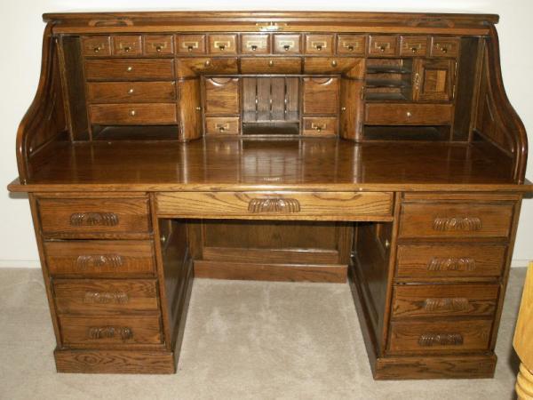 solid wood roll top desk sold in - Rolltop Desk. Queen Anne Slant Front Desk.  Antique ... - Antique Oak Roll Top Desk Antique Furniture