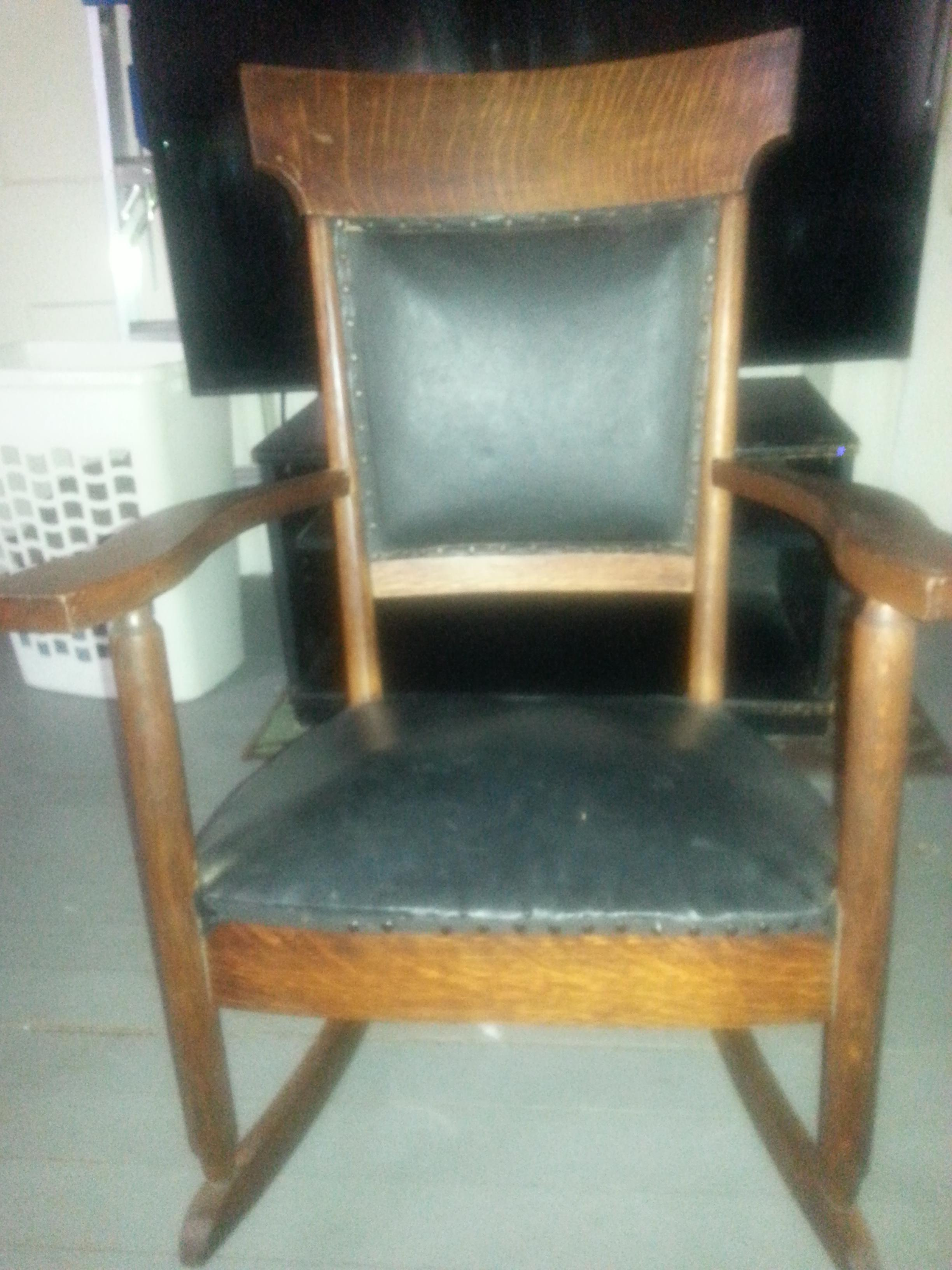 Antique Wood And Leather Rocking Chair Antique Appraisal