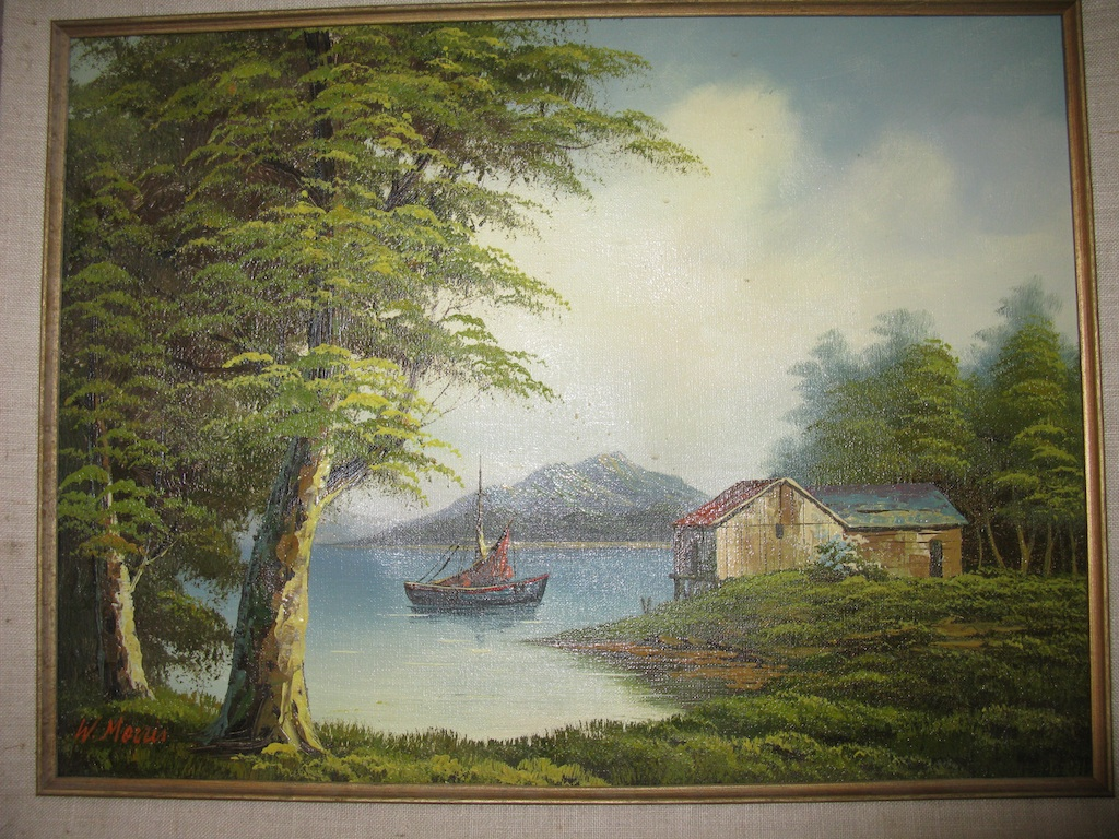 Landscape Sail Boat Oil Painting Signed By W Morris